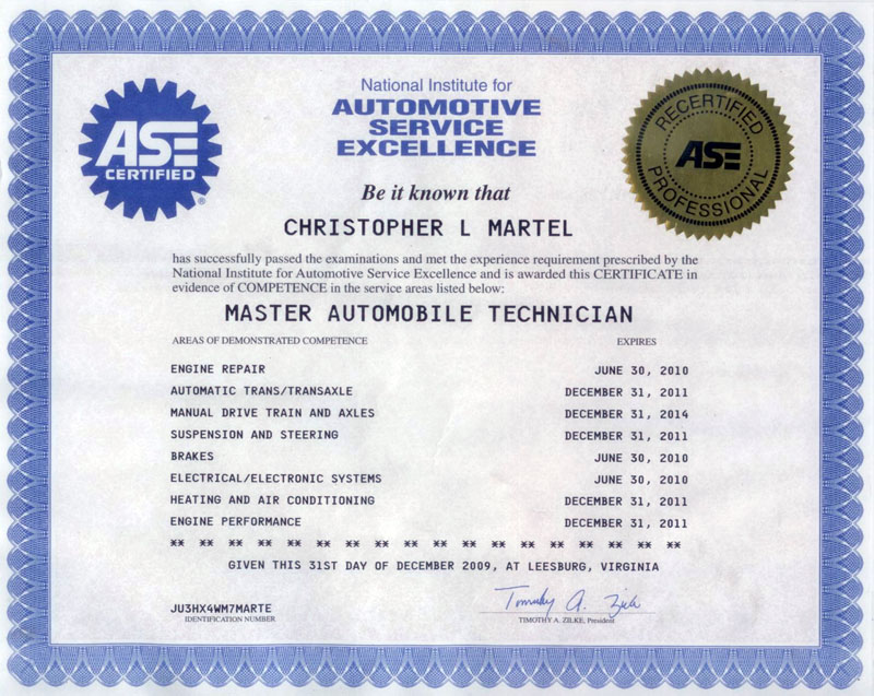 Mechanic Ase Certification Image Collections Creative Certificate
